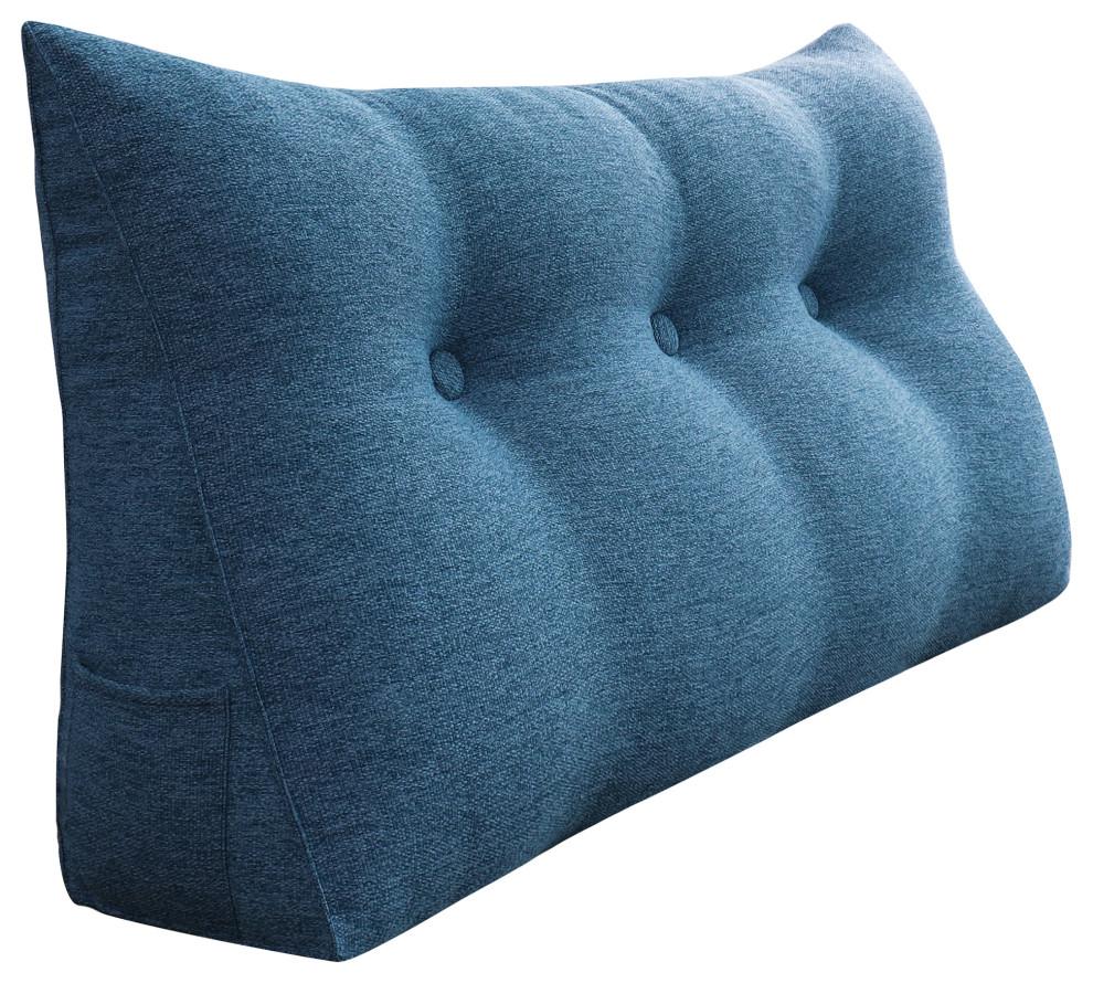bedrest back support pillow bolster lumbar pillow reading wedge linen blue 39