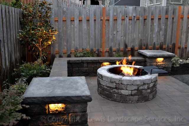 Paver Patio, Seat Wall, Fire Pit, Outdoor Lighting ... on Paver Patio Designs With Fire Pit id=40649