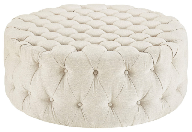 button tufted ottoman round circle tufted coffee table cocktail ottoman beige
