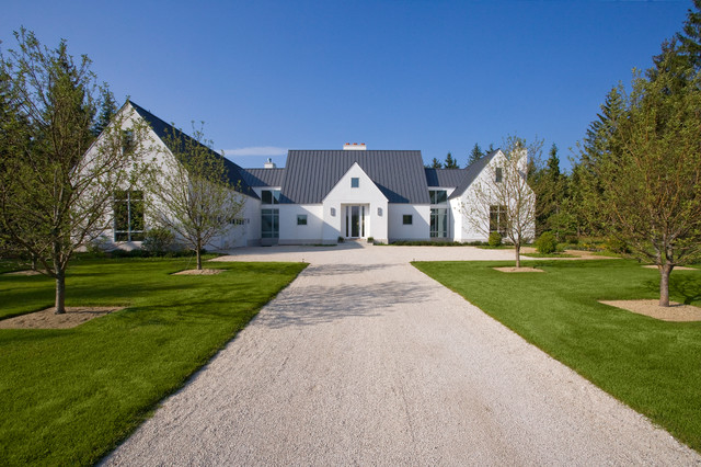 Front Elevation Of Contemporary European Farmhouse In