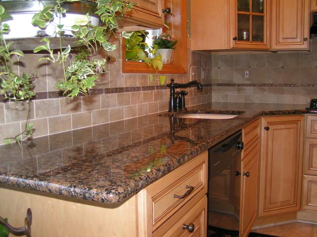 Baltic Brown Granite & Tile Backsplash on Granite Stove Backsplash  id=67663