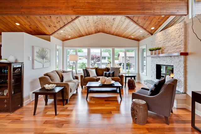 wood flooring living room bay windows fireplace floor lamp acacia hardwood floors