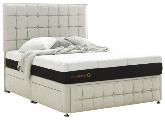 Venice King Divan With 4 Drawers And Sirocco Octaspring Mattress White Contemporary