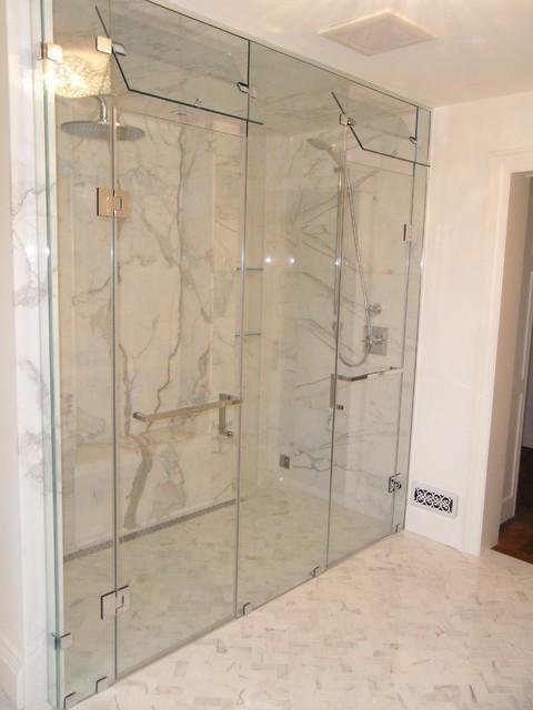 Custom Inline Double Shower Door With Steam Vent Modern