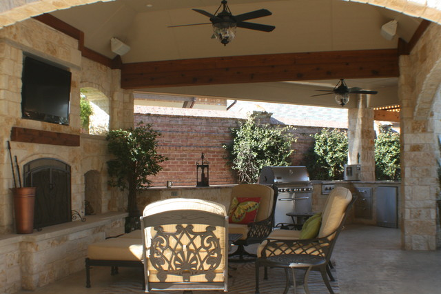 Fort Worth Covered Patio with Pergola Outdoor Kitchen and ... on Covered Outdoor Kitchen With Fireplace id=25832