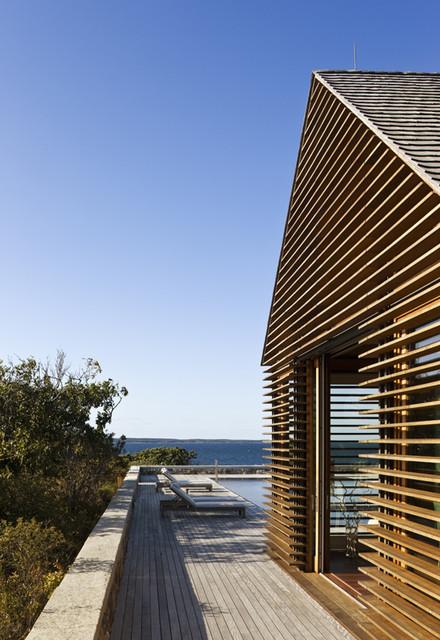 Teak Louvers On Poolhouse Beach Style Exterior