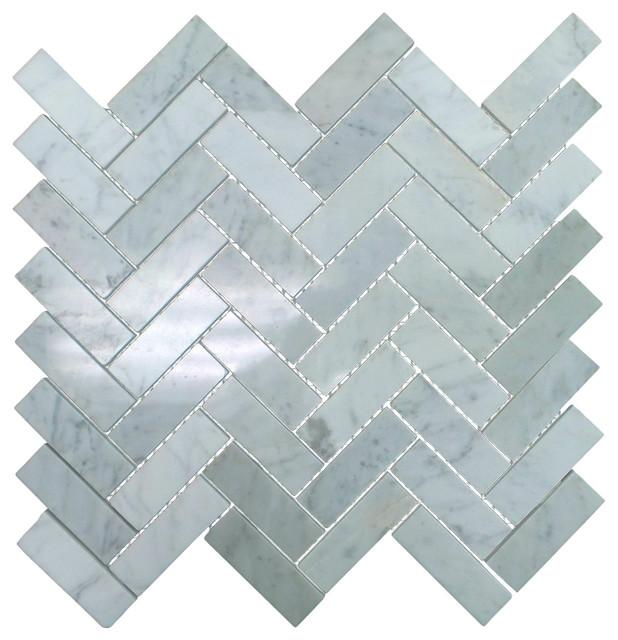 polished marble herringbone mosaic tile 12 x13 bianco carrara white 5 sheets