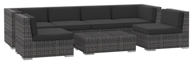 oahu outdoor patio furniture sofa sectional 7 piece set charcoal