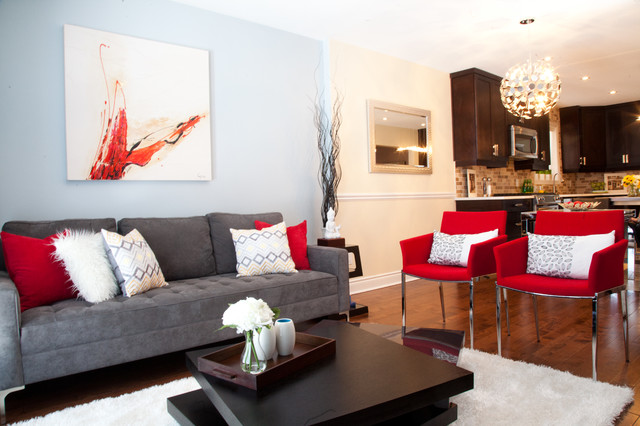 Red Accent Decor Contemporary Living Room. Red Accent Decor