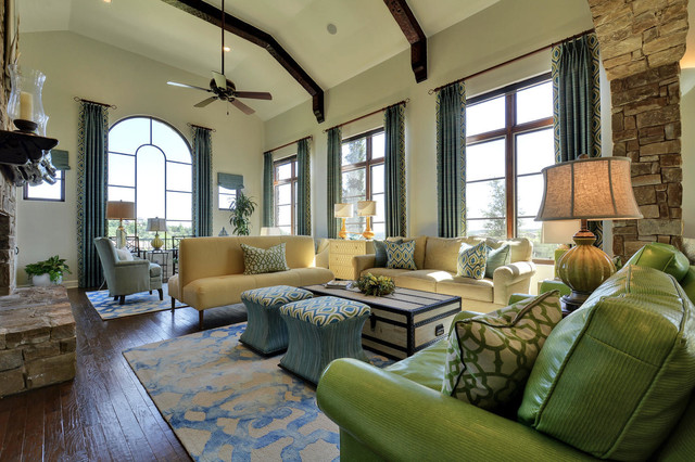 Mediterranean Inspired Living Space transitional-living-room
