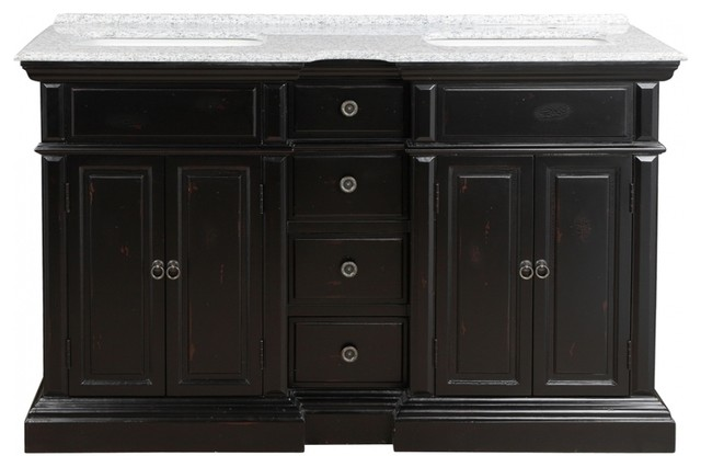 58 inch distressed bathroom vanity with double sinks granite top traditional