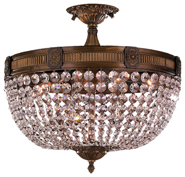 Ont 6 Light Antique Bronze Finish Crystal Semi Flush Mount Ceiling Traditional