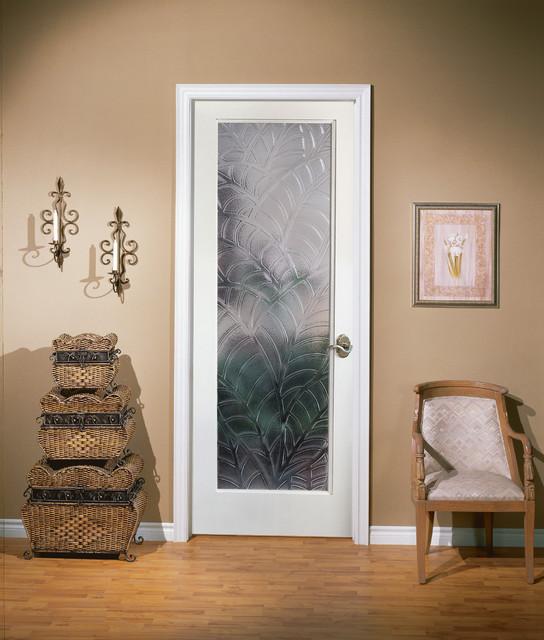 Kona Decorative Glass Interior Door - Tropical - Home ...