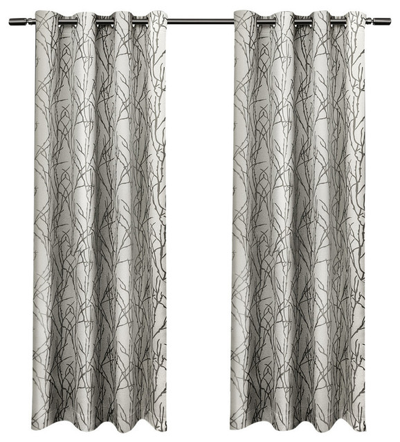 branches grommet top curtain panels set of 2 54 x 84 black pearl