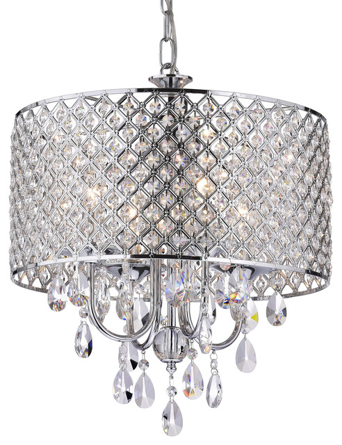 Mariella 4 Light Crystal Drum Shade Chandelier Chrome Contemporary Chandeliers