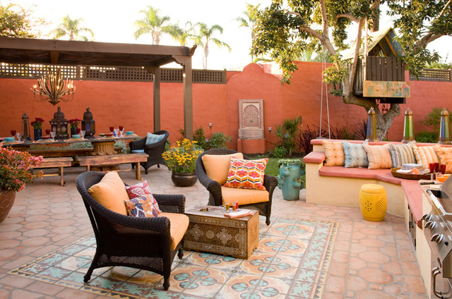 Colorful Moroccan outdoor living - Eclectic - Patio - San ... on Moroccan Backyard Design  id=65375