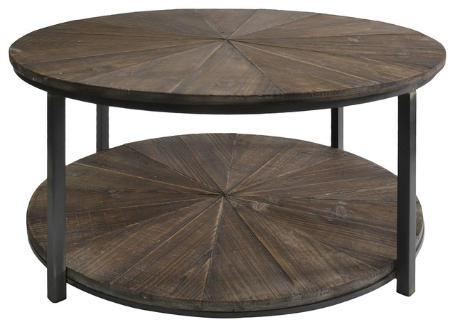 crestview jackson round metal and rustic wood cocktail table