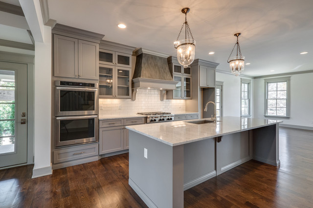 Eat In Kitchen Transitional Galley Medium Tone Wood Floor Idea