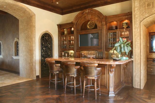Wet Bar Mediterranean Family Room San Diego By