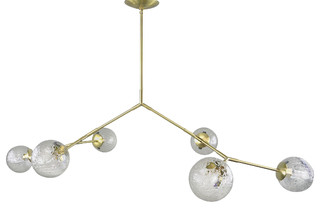 Branching Chandelier Hand N Clear Vintage Le Bubble Glass 6 Globes