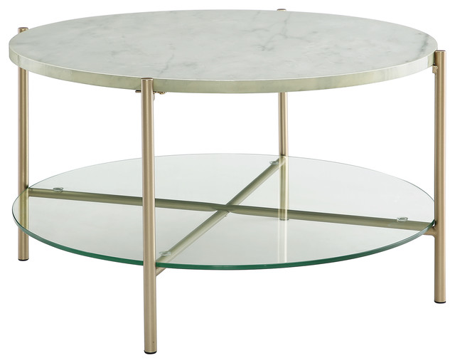 32 modern round coffee table with glass shelf top white marble legs gold