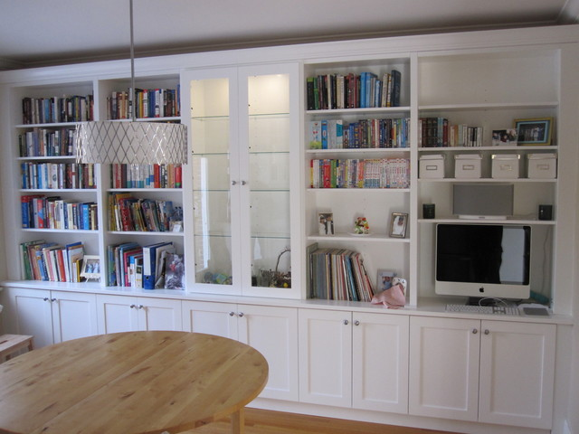 White Bookcases With Built In Desk