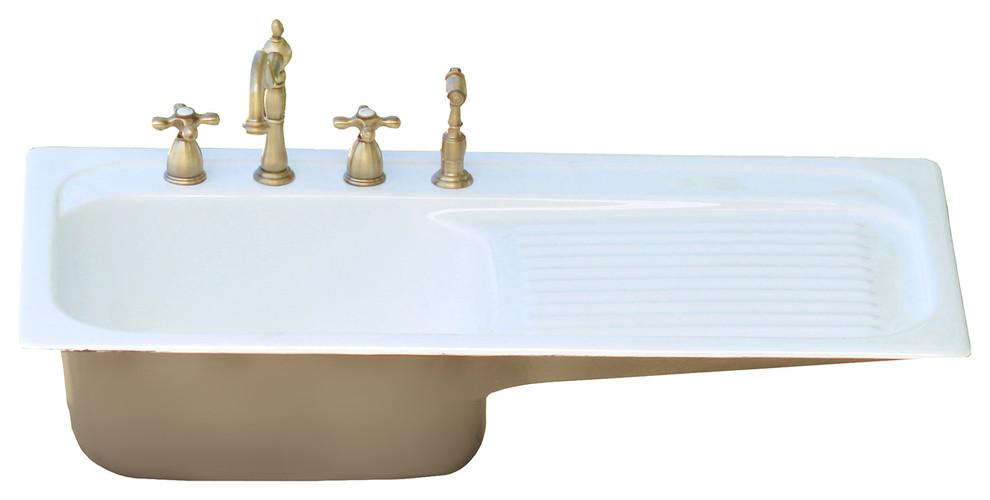 42 farm sink brown gray single drainboard drop cast iron kitchen sink set