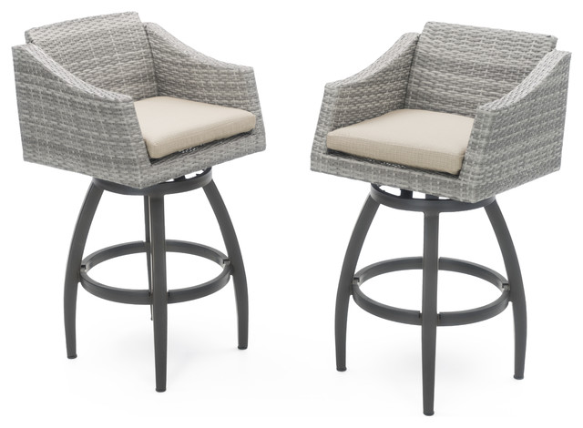 cannes swivel outdoor bar stools set of 2 by rst brands sand