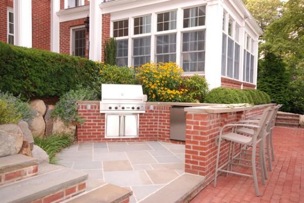 brick patio with outdoor kitchen Brick & Bluestone Outdoor Kitchen - Transitional - Patio