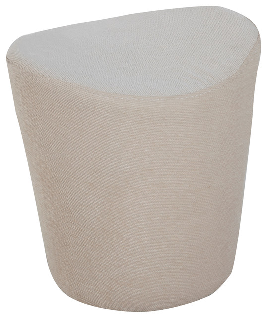 fabric round pouf ottoman cream