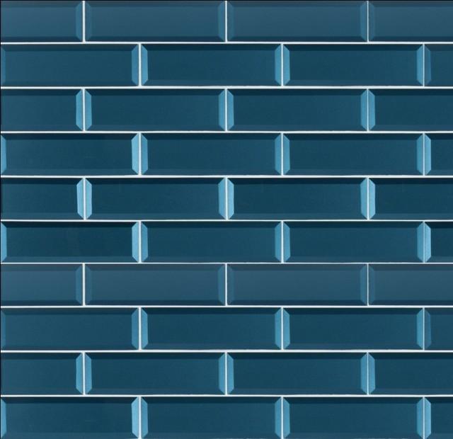 tahiti blue beveled glass subway tile sample
