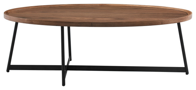 niklaus 47 oval coffee table american walnut and black