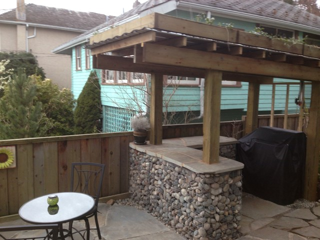 Rock Gabion Outdoor Bar with Green Roof - Rustic - Patio ... on Backyard Bar With Roof id=71392