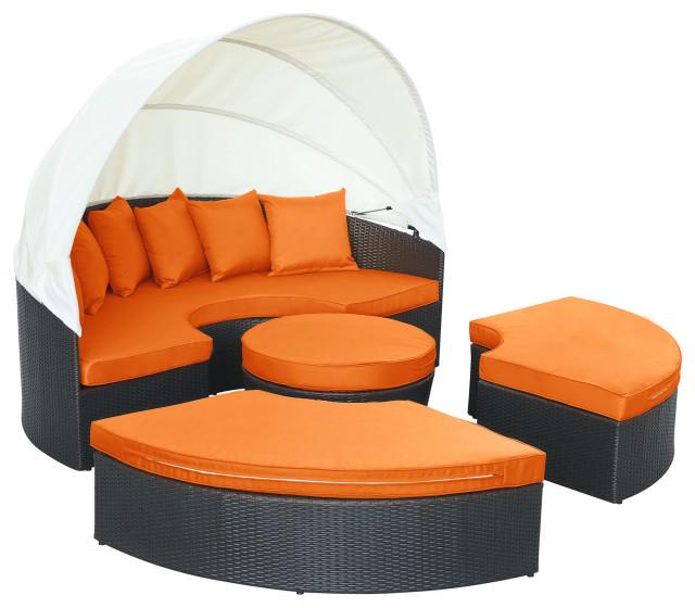 espresso orange quest canopy outdoor patio daybed