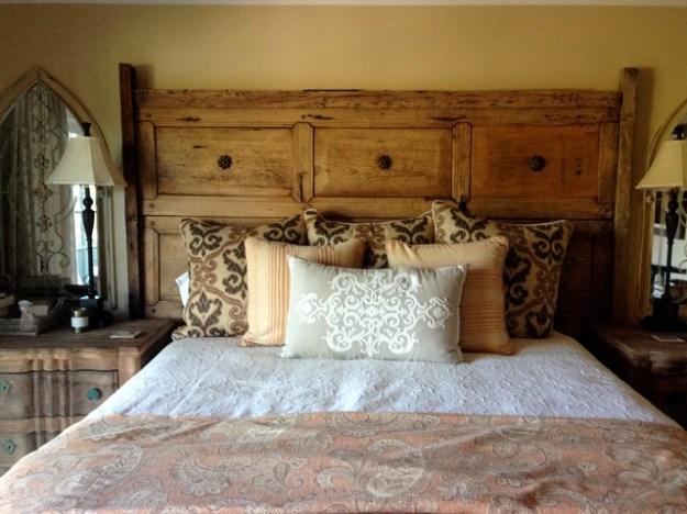 mexican antique door headboard - rustic - bedroom - los angeles -