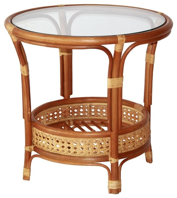 pelangi round rattan wicker coffee table with glass colonial