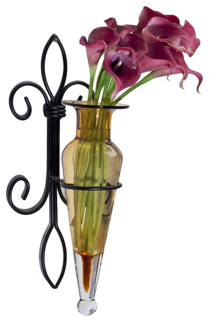 Wall Hanging Amphora Flower Vase Sconce on Fleur Lys Iron ... on Iron Wall Vases id=50127