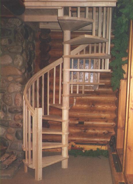 Custom Ash Spiral Staircase Rustic Staircase Toronto