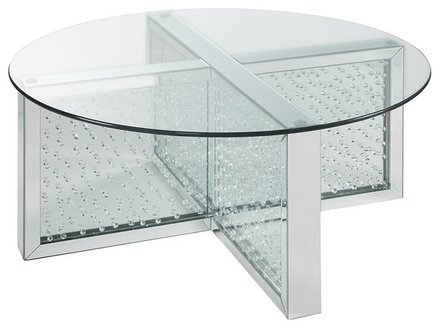 acme nysa coffee table mirrored and faux crystals