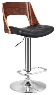 Wood-Back Adjustable Swivel Bar Stool, Diamond Quilted Seat
