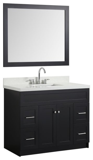 43 bath vanity black with quartz vanity top white with white basin mirror