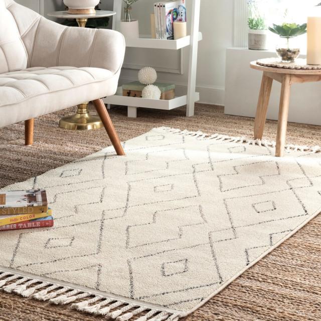nuloom jenny contemporary geometric area rug ivory 4 x6