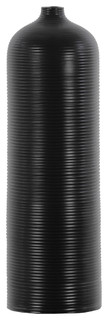 Ceramic Cylindrical Vase With Ribbed Design Body, Black