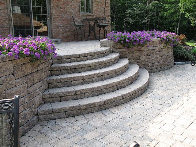 Creative Outdoor Stairs Options using Allan Block ... on Backyard Patio Steps id=22984