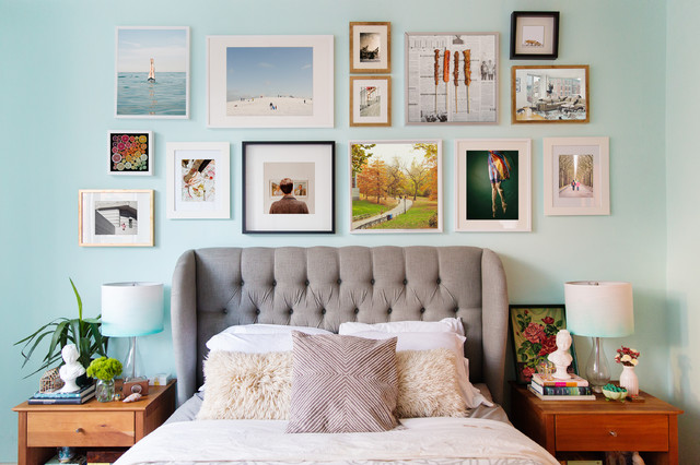 Cheerful Bedroom with Gallery Wall eclectic-bedroom