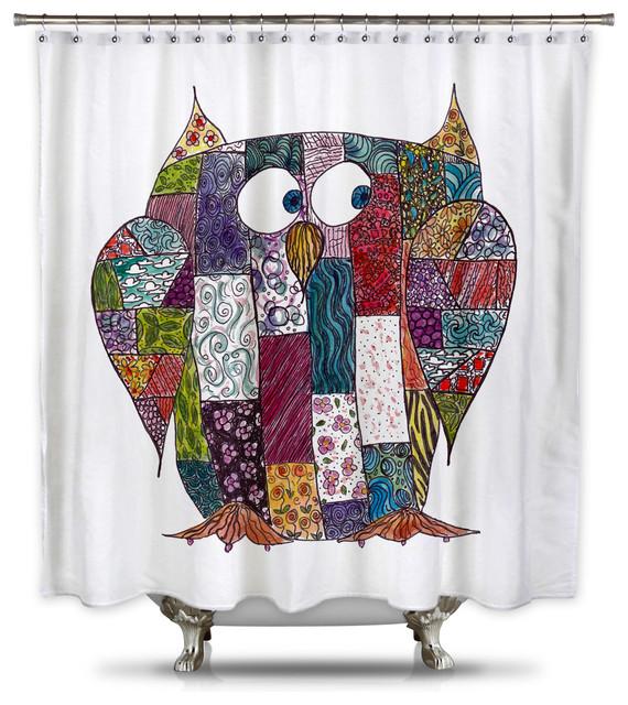 Showercurtain Hq Catherine Holcombe Log Cabin Owl Fabric Shower