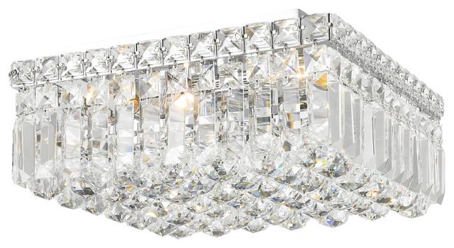 Contemporary 4 Light Polished Chrome Crystal Ball Prism 12 Square Flush Mount
