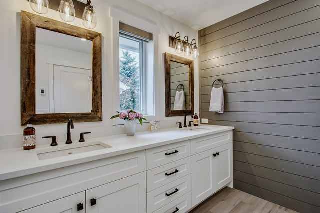 Lake Bonavista Renovation farmhouse-bathroom