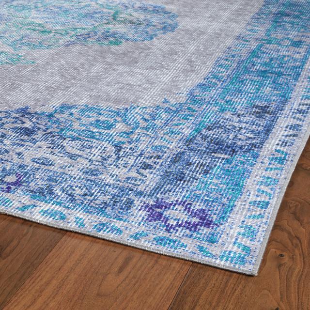 kaleen indoor outdoor distressed boho patio rug blue 5 x7 6