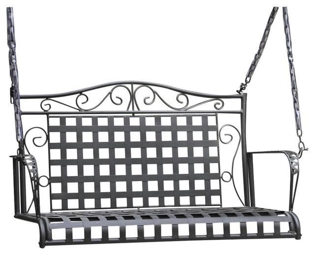 mandalay wrought iron patio swing antique black